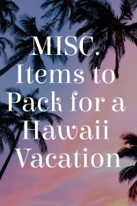 Misc. Items for Hawaii Vacation
