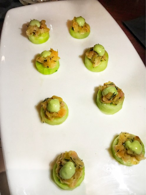 Amuse Bouche, Smoked Salmon on Cucumber Rounds