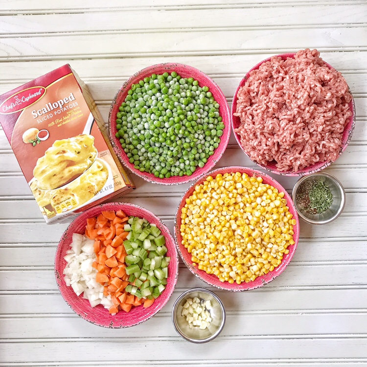 ground beef, corn, carrots, onons, celery, spices and scalloped potatoes
