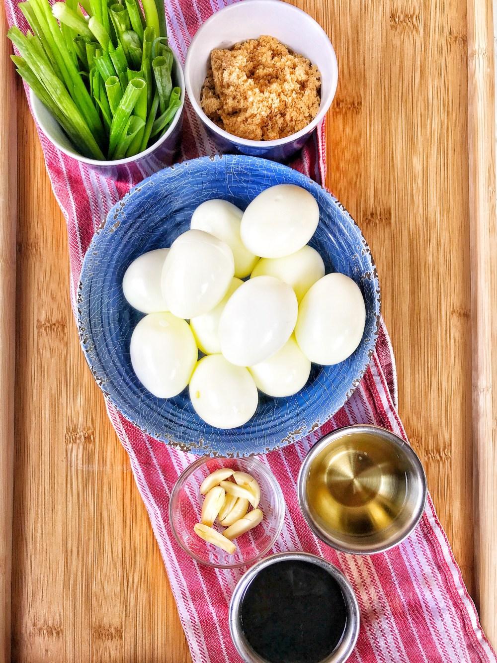 Hard Boiled Eggs, Brown Sugar, Soy Sauce , Rice Wine Vinegar, Garlic and Green Onions
