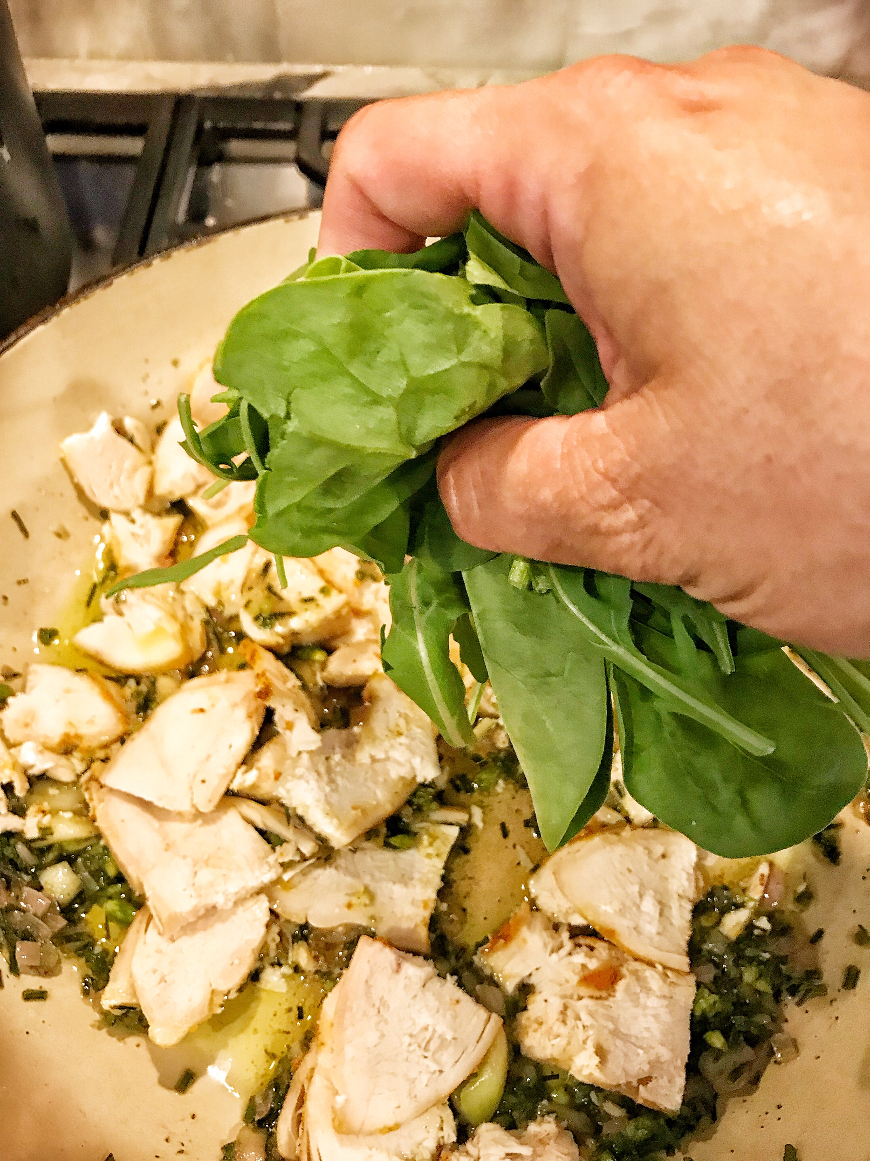 chicken, arugula and spianch