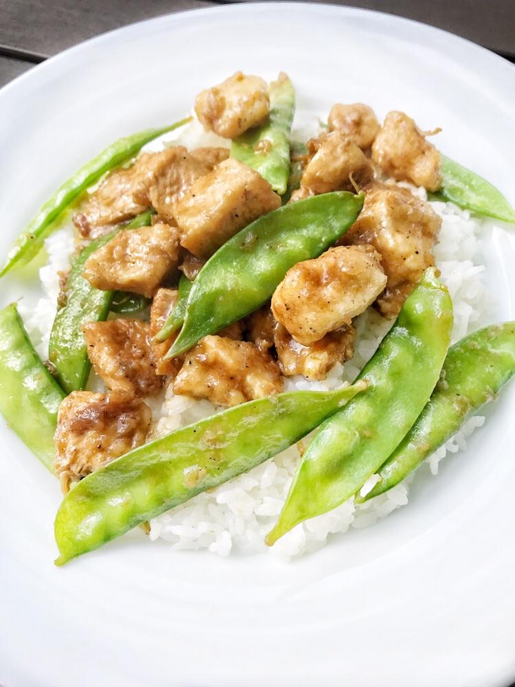 Chicken, Pea Pods, Rice