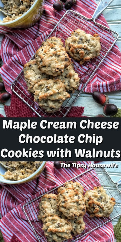 Maple Cream Cheese Chocolate Chip Cookies with Walnuts