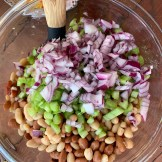 Bowl of beans and onions