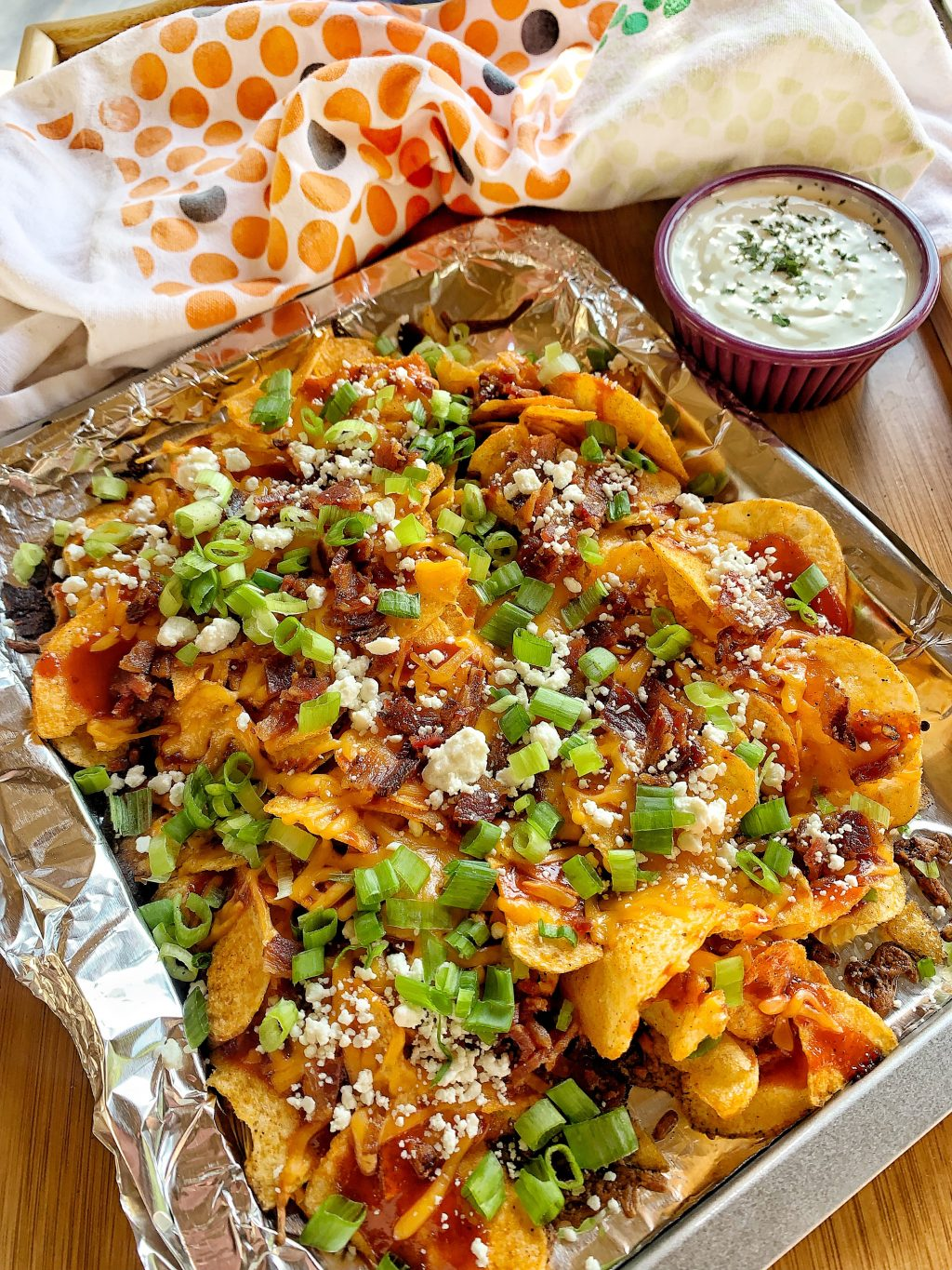 tray of bbq potato chip nachos