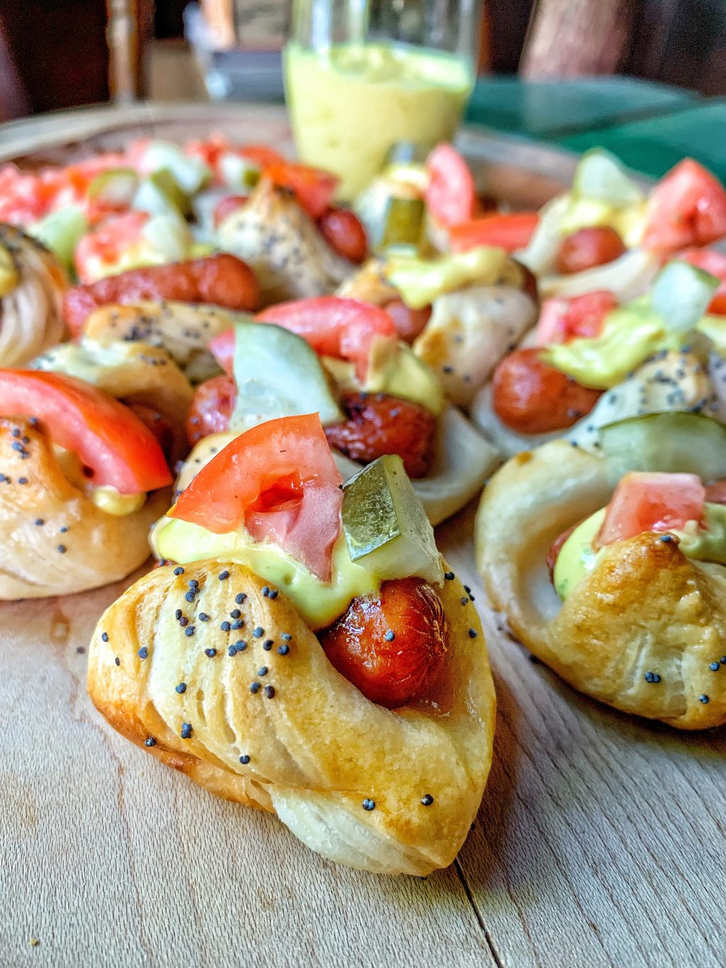Picture of mini chicago style dogs.
