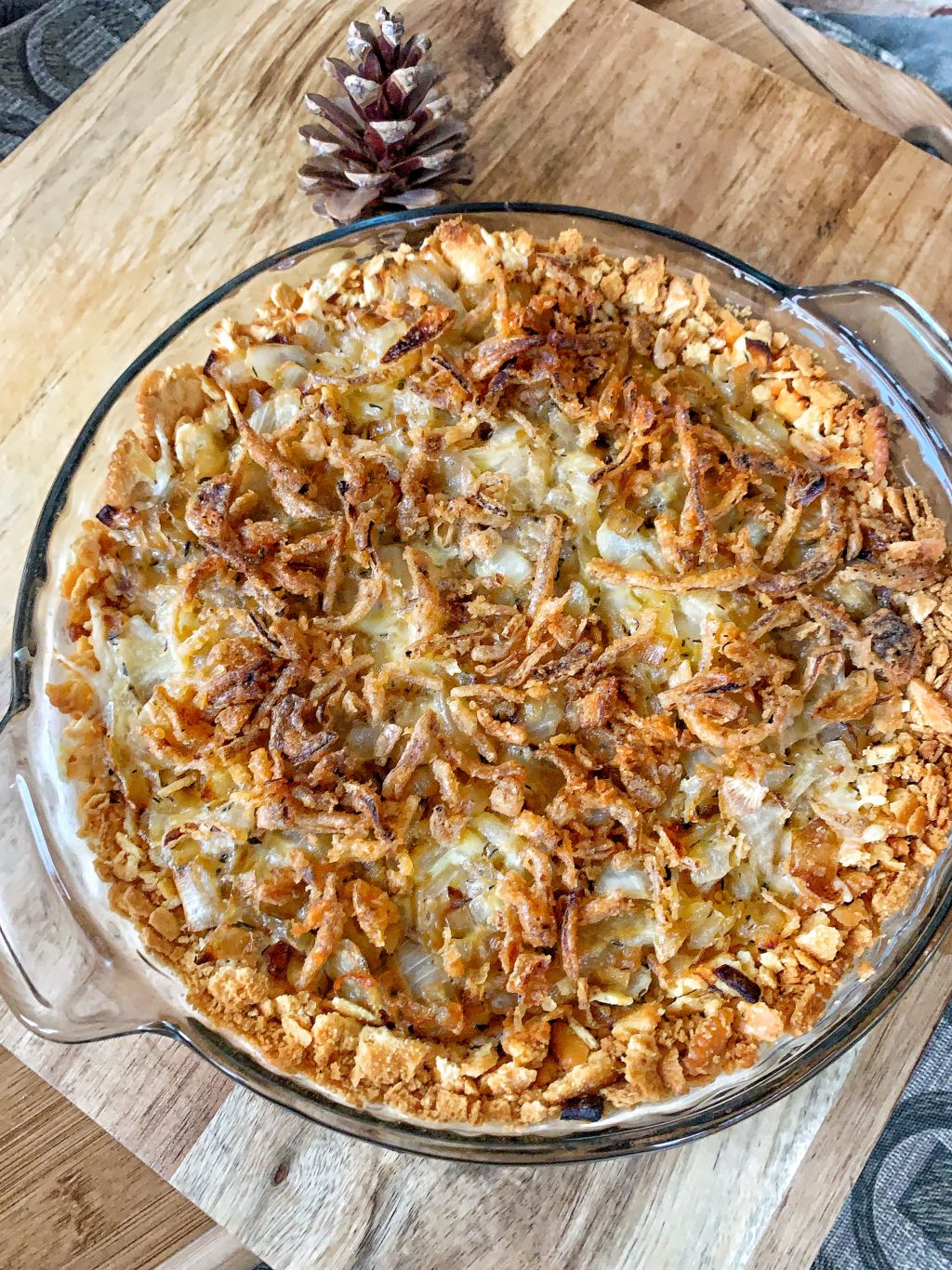 Creamy onions with cheese and crispy french fried onions.