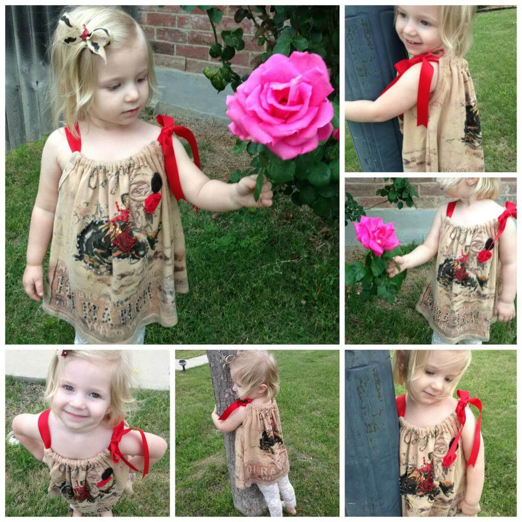 I turned a blinged out cowgirl shirt into an adorable sundress my toddler.