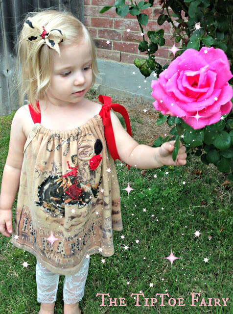 Turn a favorite t-shirt into a dress for your daughter.