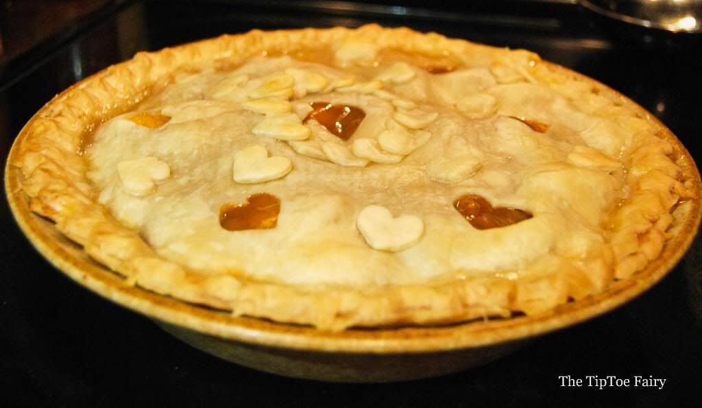 A baked dulce de leche peach pie.