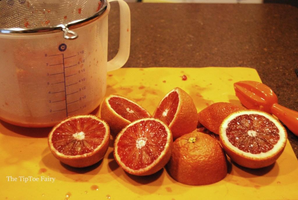 Blood oranges cut in half
