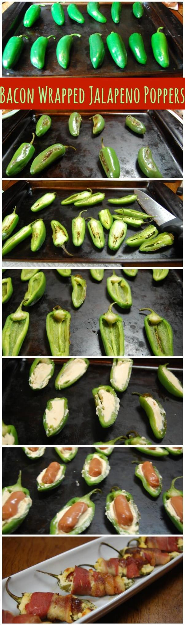 collage image to make stuffed bacon wrapped jalapeno poppers