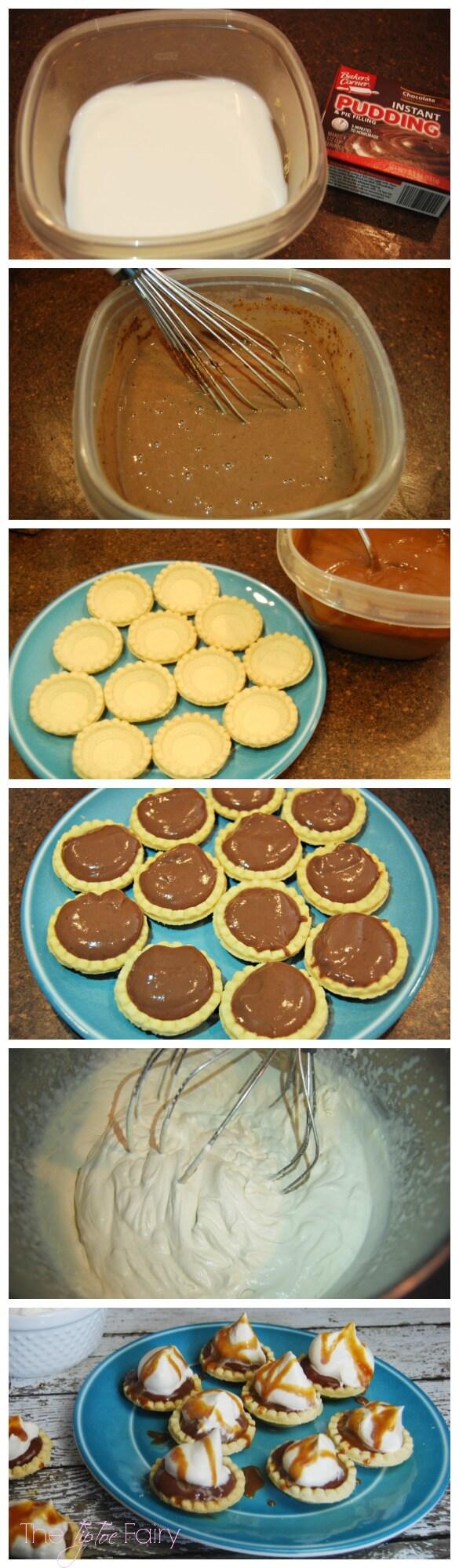 Easy weeknight dessert - Chocolate Caramel Cream Pie Bites w dulce de leche syrup #chocolate #dessert