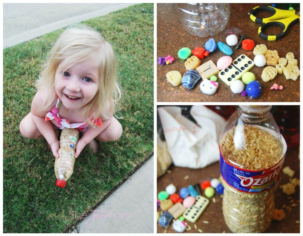 Water Bottle Fun - make an I Spy Bottle full of trinkets and whatnots with rice.