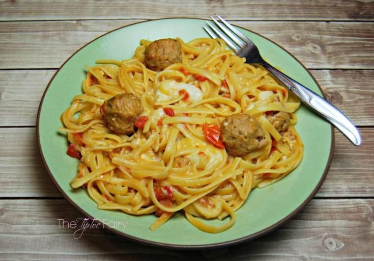 One Pot Meal: Tomato Rosemary Linguine with Meatballs & Mozzarella