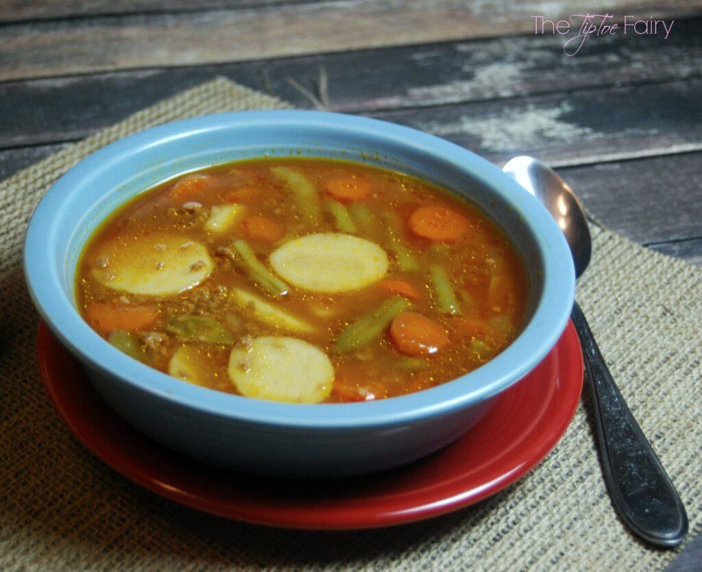 Quick & Easy Hamburger Stew - a perfect weeknight meal when you don't know what's for dinner!   The TipToe Fairy