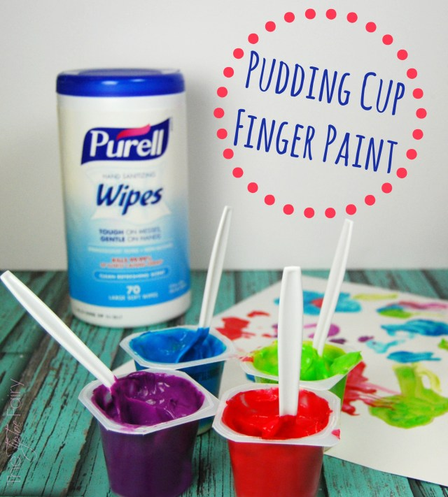 Easy & Edible Pudding Cup Finger Paints - made in seconds! The TipToe Fairy #ad #PurellWipes