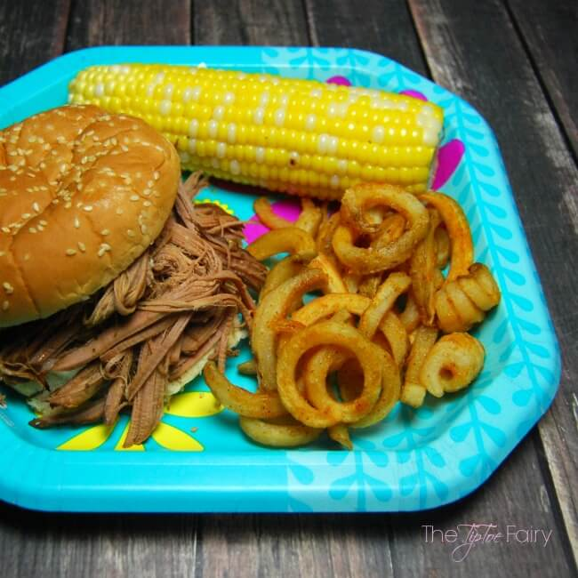 Barbecue Brisket Dinner with fresh corn on the cob and Ore-Ida Bold & Crispy Fries | The TipToe Fairy #FindYourBold #ad