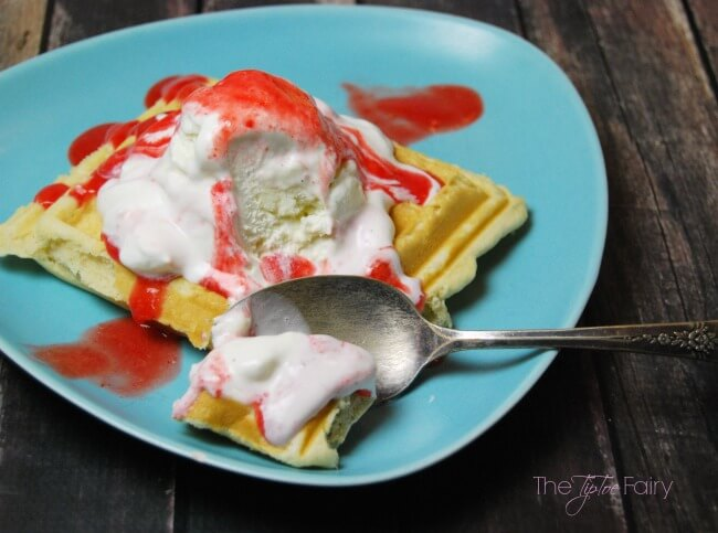 Get ready for summer with these delicious Belgian Waffle Strawberry Sundaes - make your own fresh strawberry sauce with the blender!!   The TipToe Fairy #SunsOutSpoonsOut #ad