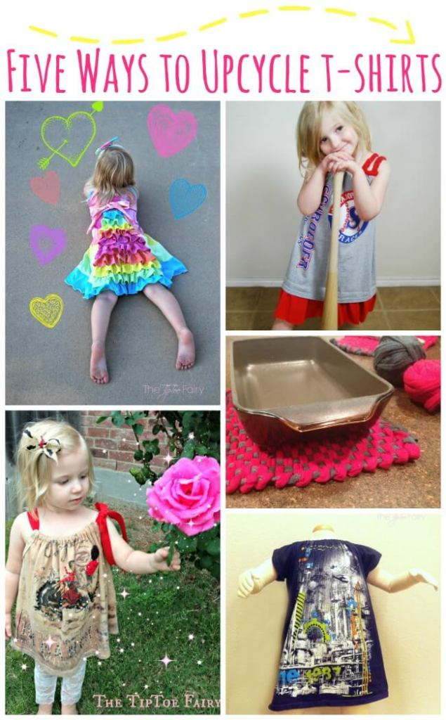 Got too many t-shirts? Check out these tutorials for FIVE Ways to Upcycle a T-Shirt!   The TipToe Fairy