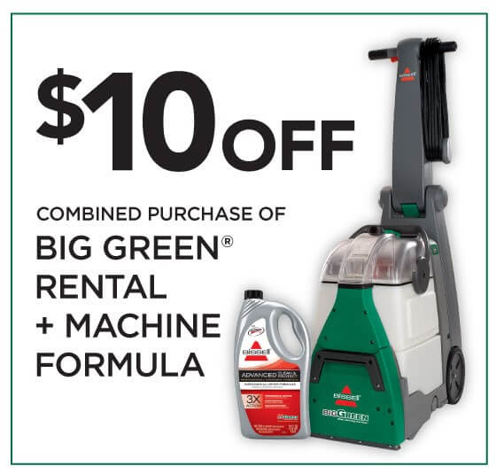 Grab a $10 OFF coupon for a BISSELL Big Green Carpet Cleaner Rental! #bissellclean #ad