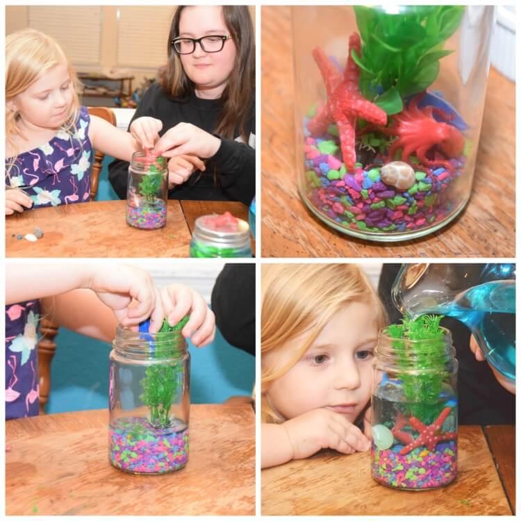 Make a Light Up Mason Jar Aquarium! #ad #FindingDelicious #craft #DIY