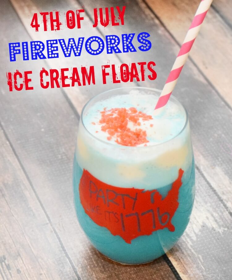 4th of July Fireworks Ice Cream Floats #drinks perfect for #kids!