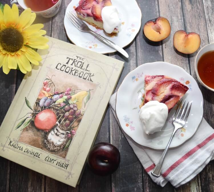 Upside Down Plum #Cake inspired by The Troll Cookbook! #ad #bookreview #foodie
