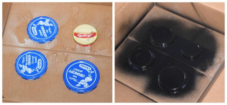 Spray painting the lids black.