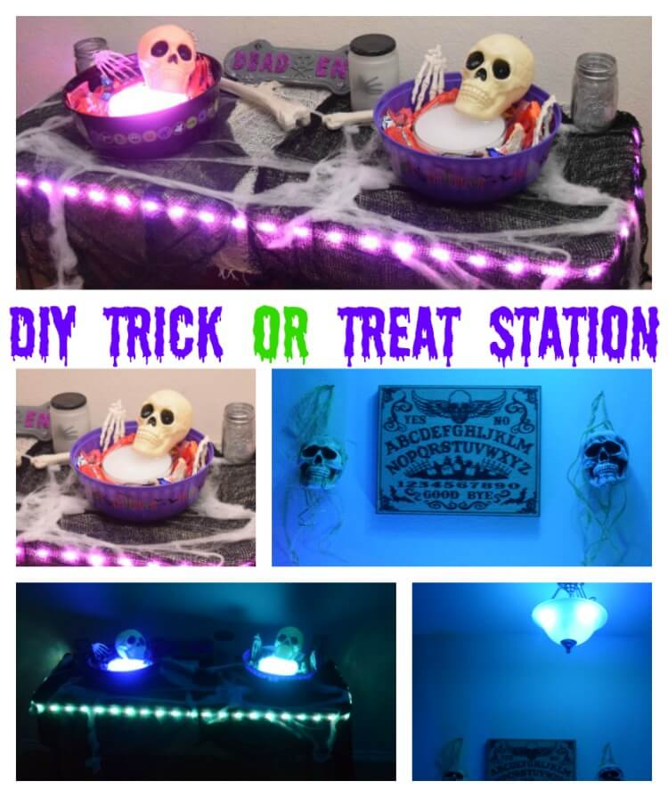 See our #DIY Trick or Treat Station for #Halloween! #ad #HueHalloween #PhilipsHue