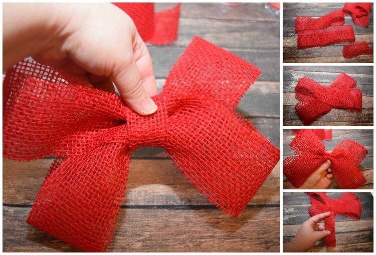 Make a Burlap Bow for your Christmas Snow Globe Wreath with @DollarTree! #ad #DollarTree