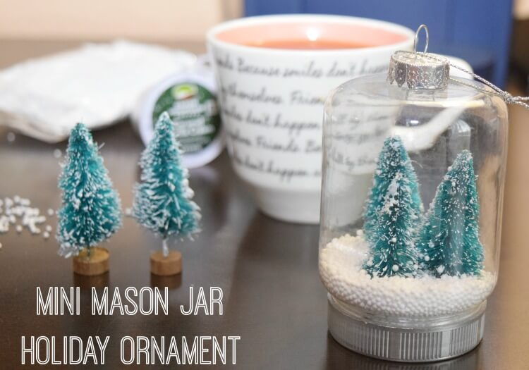 Make these Mini Mason Jar Holiday Ornaments & #BrewTheLove on Fall Back Day today! #IC #ad