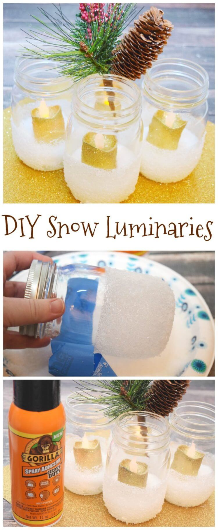 Make DIY Snow Luminaries for your holiday table or mantle! #ad #GorillaTough @GorillaGlue