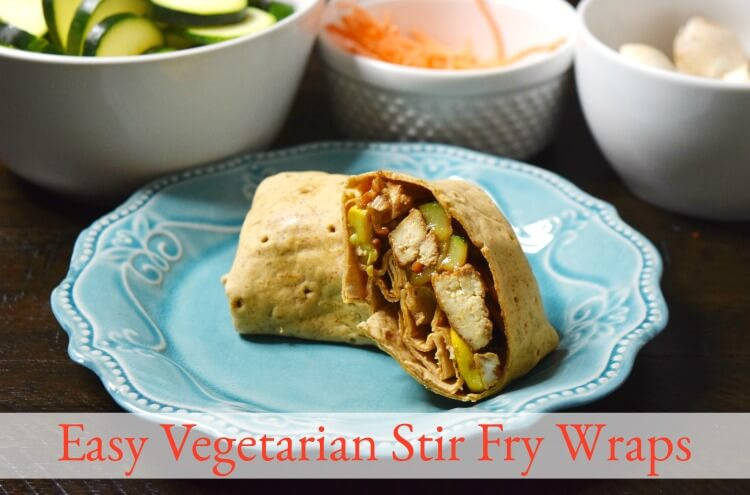 Make these Easy Vegetarian Stir Fry Wraps in just minutes!