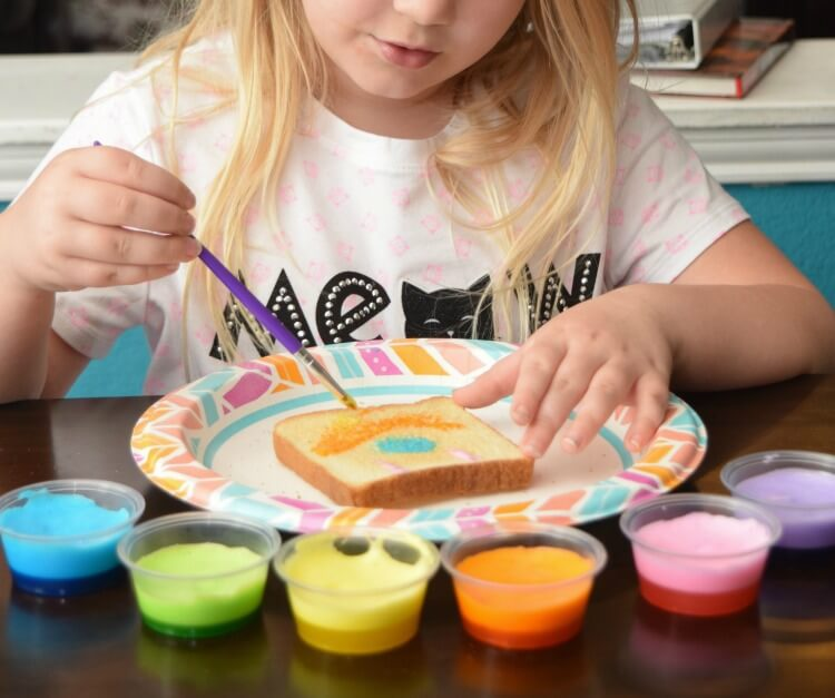 Make Rainbow Toast with Marshmallow Edible Paints! So easy to make! #ad @DollarGeneral #DixieSummerDG