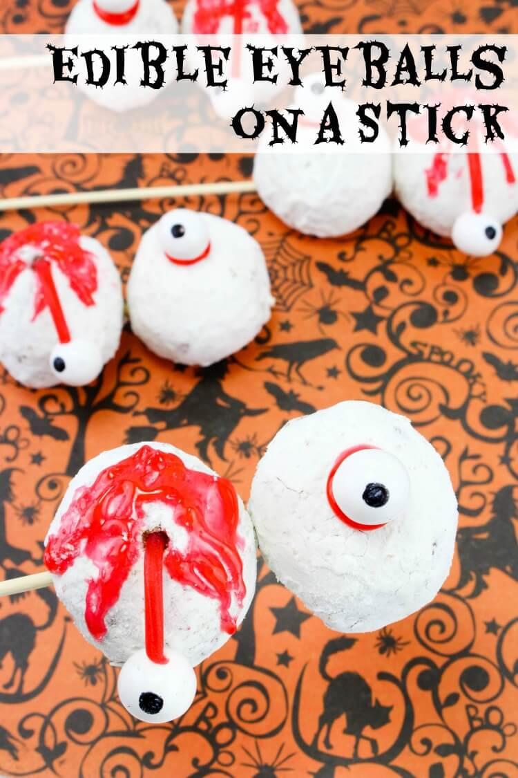 Edible Eyeball Skewers for Halloween