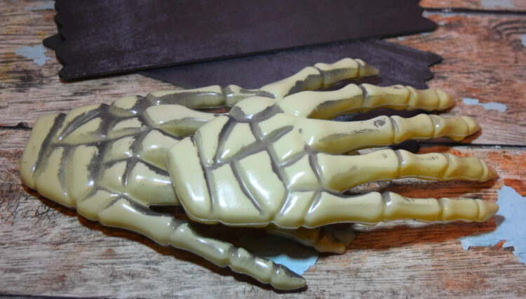 Skeleton hands from Dollar Tree