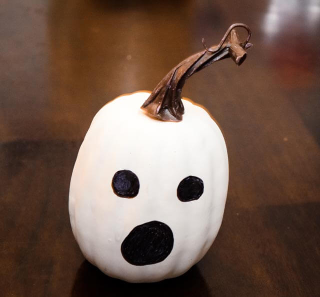 Close up view of the white ghost pumpkin.
