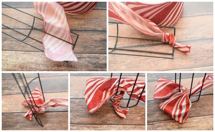 How to add the ribbon to a wire wreath frame.