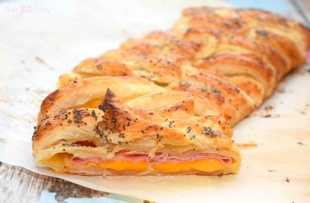 Ham & Cheese Puff Pastry Braid