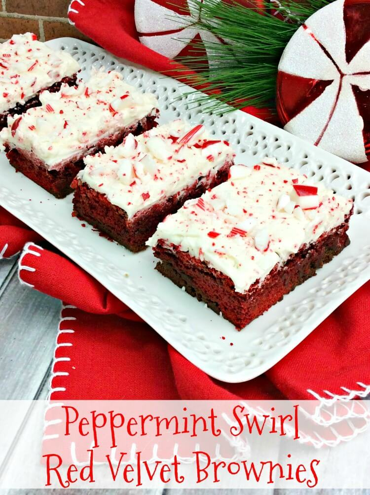 How to make Peppermint Swirl Red Velvet Brownies from cake mix