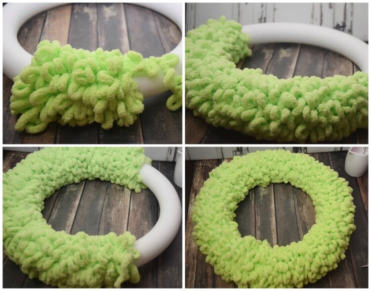 See the progress as I wrap the wreath with loop yarn.