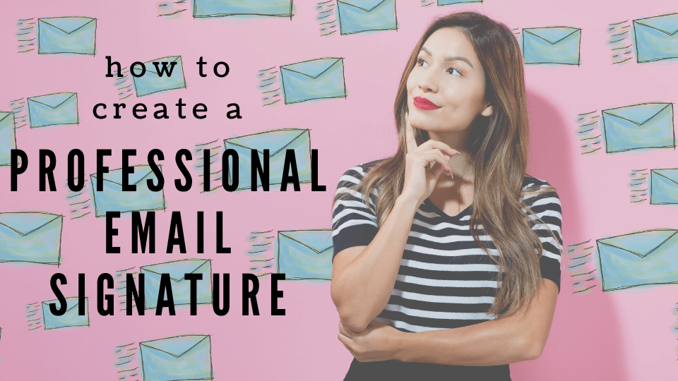 A woman on a back drop of envelopes - how to create a professional email signature
