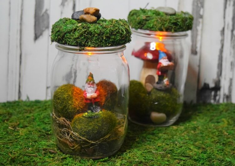 Check out these finished DIY Gnome Jars - ready to be night lights for you or the kids!