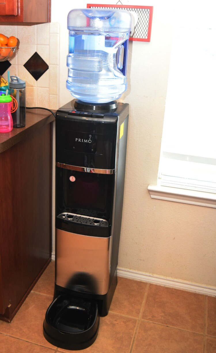 Full size view of our Primo Water Dispenser with the pet station attached.