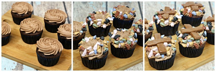 How to decorate the base of these Campfire Cupcakes with candy rocks and tootsie rolls.