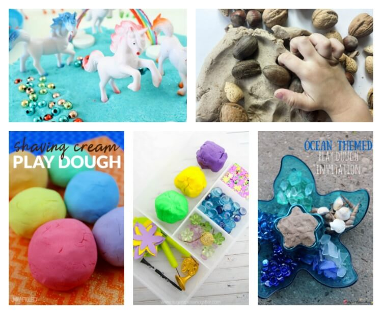 All kinds of playdough recipes from shaving cream to ocean themed.