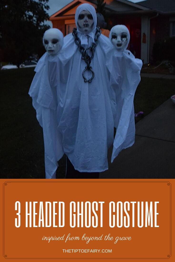 Full body view of the three-headed ghost halloween costume