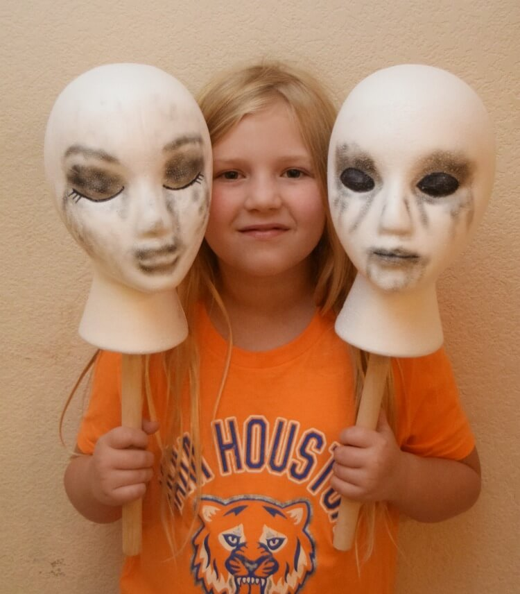finished styrofoam head puppets