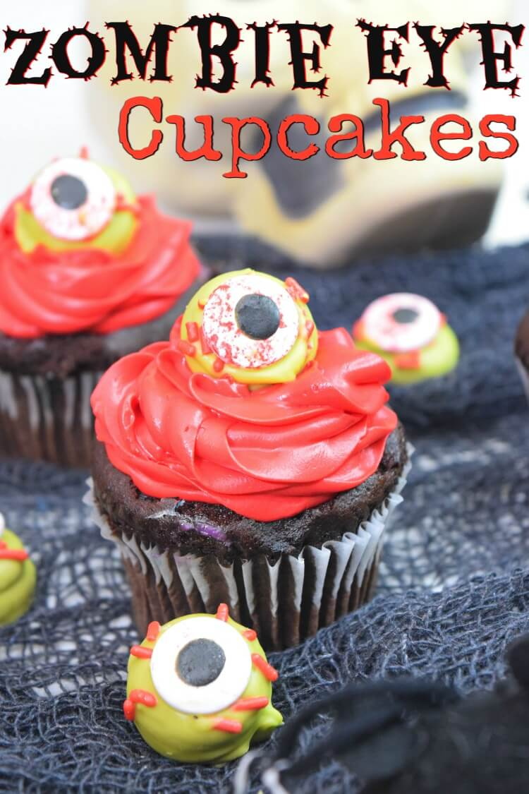 Close up view of the Zombie Eye Cupcakes